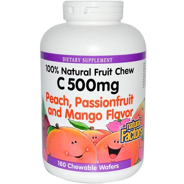 Natural Factors, C500維生素C,桃、西番蓮和芒果味,180咀嚼圓餅