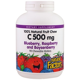 Natural Factors, C 500 mg, Blueberry, Raspberry and Boysenberry, 90 Chewable Wafers