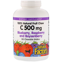 C 500 mg, Blueberry, Raspberry and Boysenberry, 180 Chewable Wafers - фото