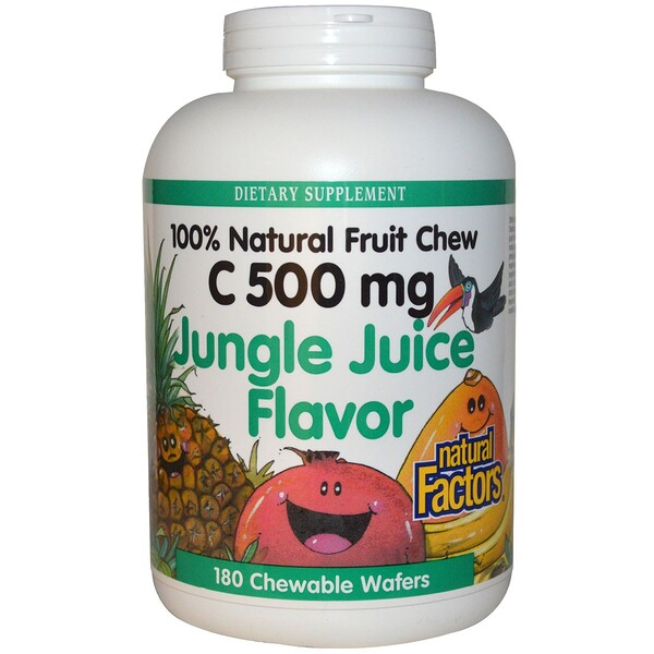 Natural Factors, C 500 mg, Jungle Juice Flavor, 180 Chewable Wafers (Discontinued Item)