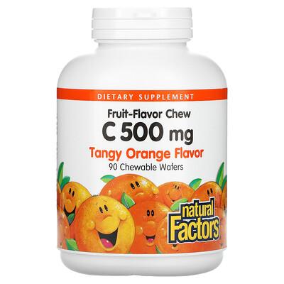 Купить Natural Factors Fruit-Flavor Chew Vitamin C, Tangy Orange, 500 mg, 90 Chewable Wafers