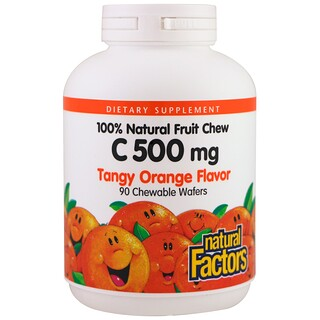 Natural Factors, C 500 mg, Tangy Orange Flavor, 90 Chewable Wafers