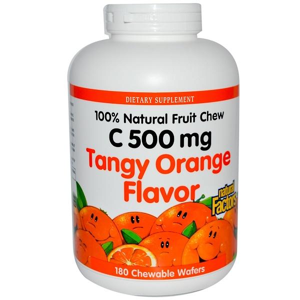 Natural Factors, 維生素C咀嚼晶圓,濃郁香橙味,180粒