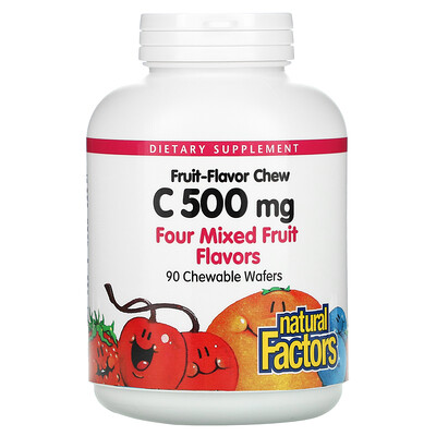 Купить Natural Factors Fruit-Flavor Chew Vitamin C, Four Mixed Fruit Flavors, 500 mg, 90 Chewable Wafers