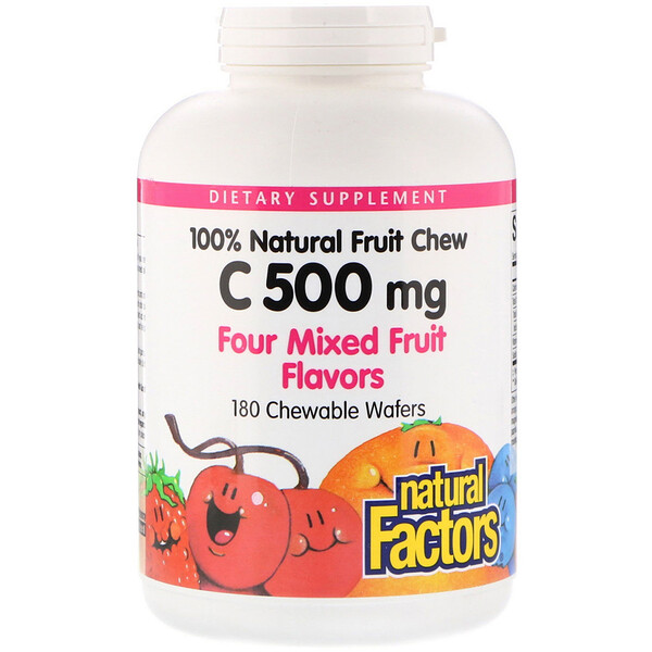 100% Natural Fruit Chew Vitamin C, Four Mixed Fruit Flavors, 500 mg, 180 Chewable Wafers