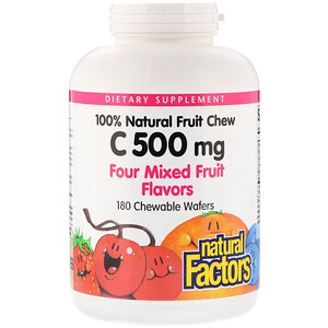 Натурал Факторс, 100% Natural Fruit Chew Vitamin C, Four Mixed Fruit Flavors, 500 mg, 180 Chewable Wafers отзывы покупателей