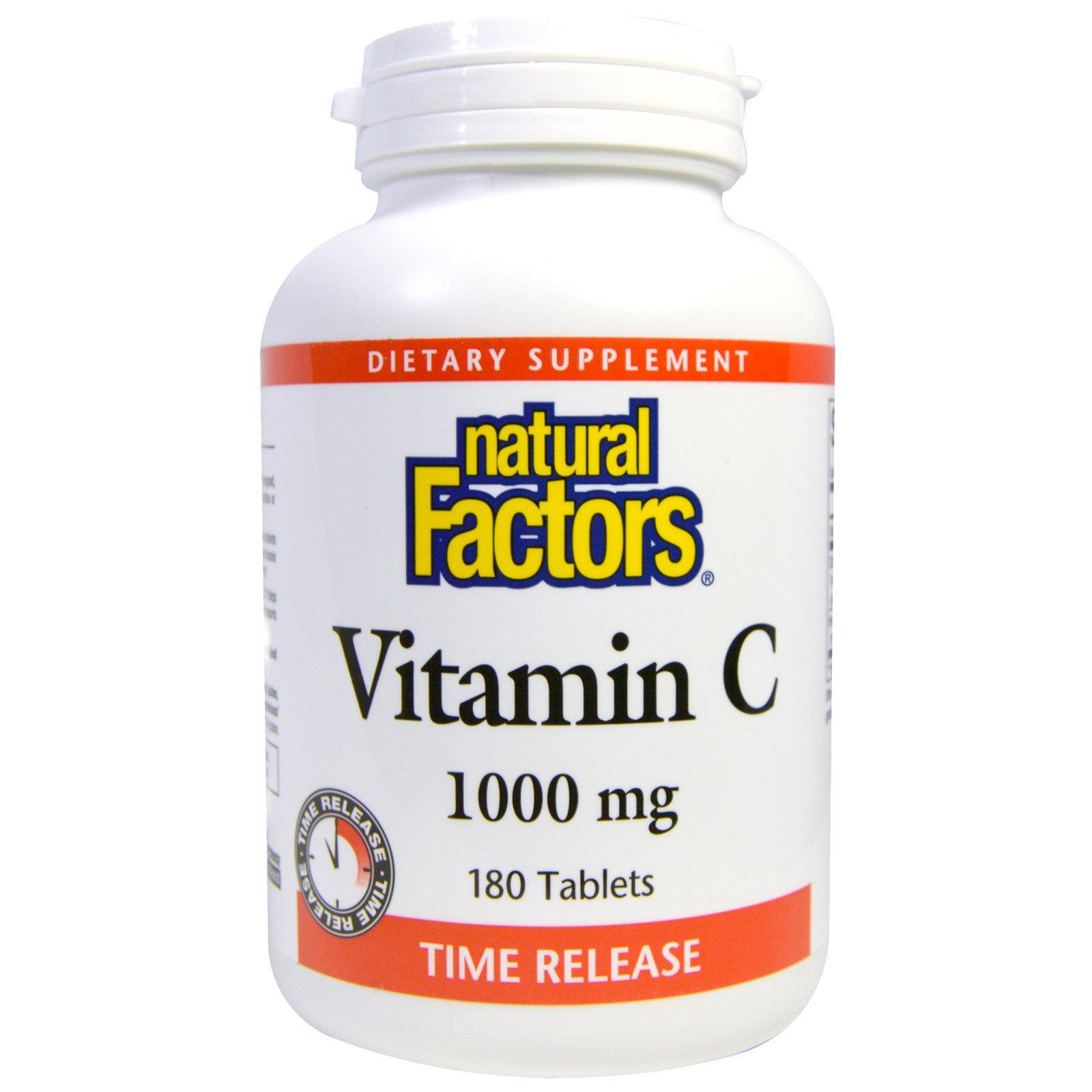 Natural Factors, Витамин C, Time Release, 1000 мг, 180 таблеток
