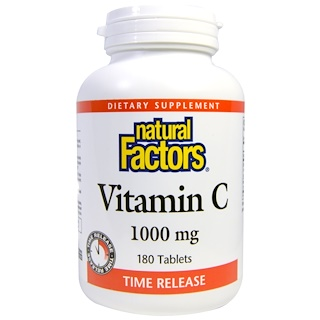 Natural Factors, Vitamine C, Time Release, 1000 mg, 180 comprimés
