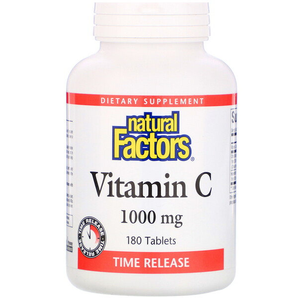 Natural Factors, Vitamine C, Libération prolongée, 1000 mg, 180 comprimés
