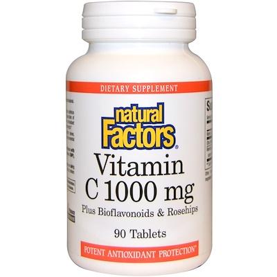 Купить Natural Factors Витамин С с биофлавоноидами, 1000мг, 90 таблеток