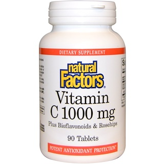 Natural Factors, Vitamin C, Plus Bioflavonoids & Rosehips, 1000 mg, 90 Tablets