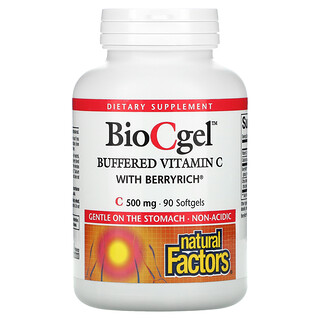 Natural Factors, BioCgel, Buffered Vitamin C with BerryRich, 500 mg, 90 Softgels