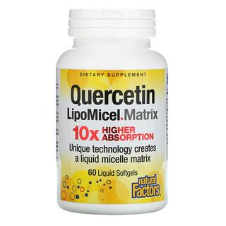 Natural Factors, Matriz de quercetina LipoMicel, 60cápsulas blandas con contenido líquido