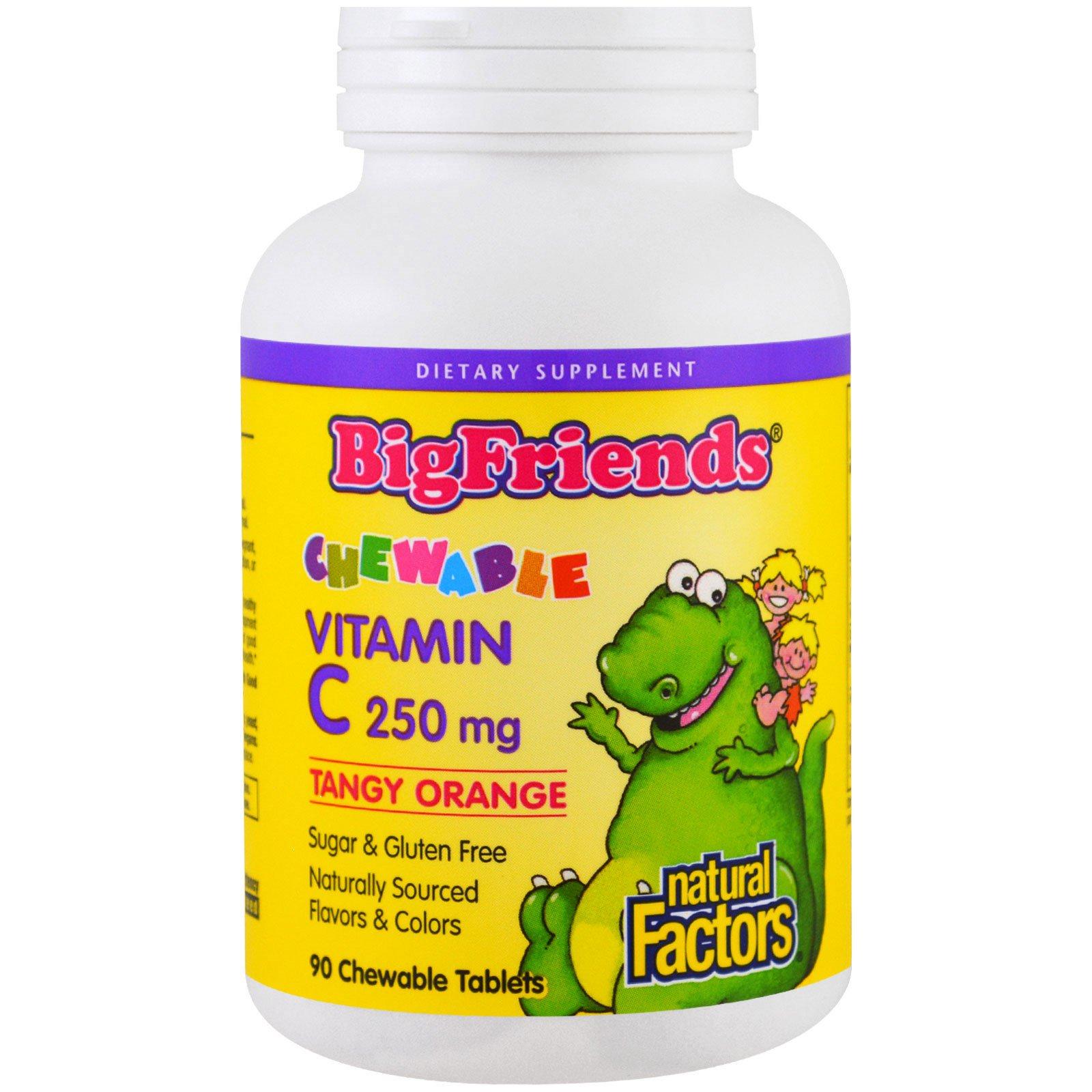 Natural Factors, Big Friends, жевательные витамины C, яркий апельсин, 250 мг, 90 жевательных облаток
