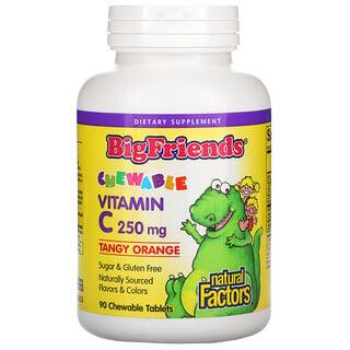 Natural Factors, Big Friends, Chewable Vitamin C, Tangy Orange, 250 mg, 90 Chewable Tablets