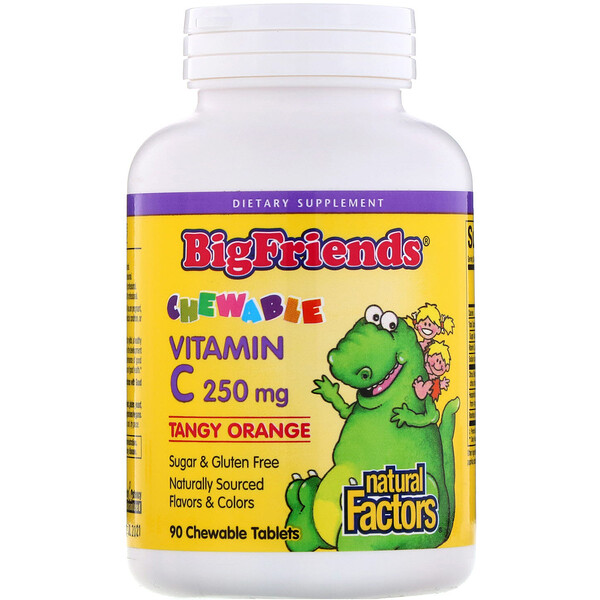 Big Friends, Chewable Vitamin C, Tangy Orange, 250 mg, 90 Chewable Tablets