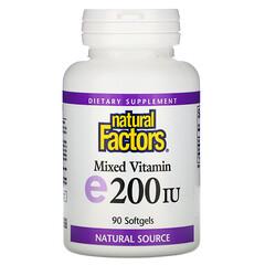 Natural Factors, 混合維生素 E,200 國際單位,90 粒軟凝膠