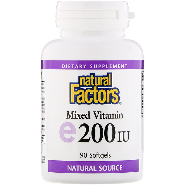 Natural Factors, E 200 IU mezclado, vitamina E, 90 softgel