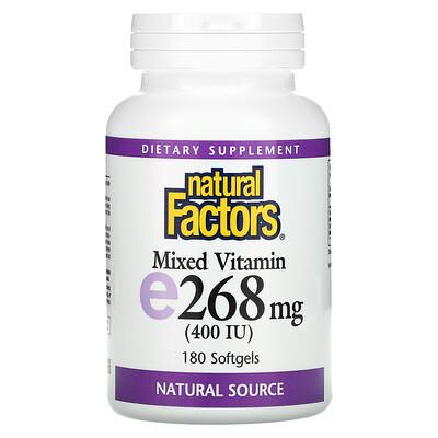 Купить Natural Factors Комплекс витамина Е, 400 МЕ, 180 желатиновых капсул