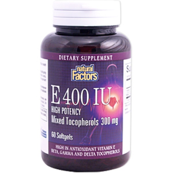 Natural Factors, E 400 IU, High Potency, Mixed Tocopherols, 300 mg, 60 Softgels (Discontinued Item)