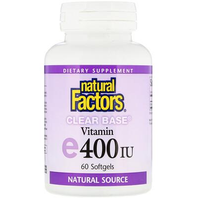 Clear Base Vitamin E, 400 IU, 60 Softgels
