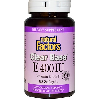 Natural Factors, E 400 IU, Clear Base, 60 Softgels