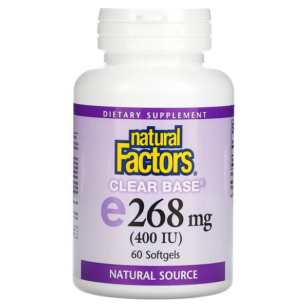 Clear Base Vitamin E, 268 mg (400 IU), 60 Softgels