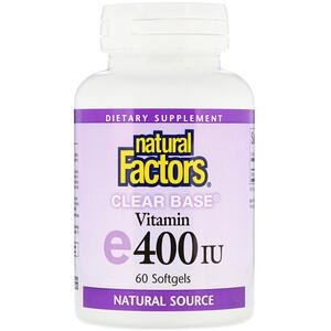 Натурал Факторс, Clear Base Vitamin E, 400 IU, 60 Softgels отзывы