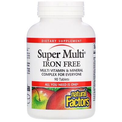 Купить Natural Factors Супермультивитамин, без железа, 90 таблеток
