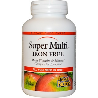Natural Factors, Super Multi, Iron Free, 90 Tablets