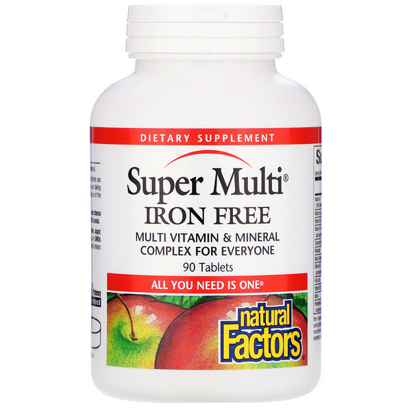 Natural Factors, Super Multi, Sin Hierro, 90 Tabletas