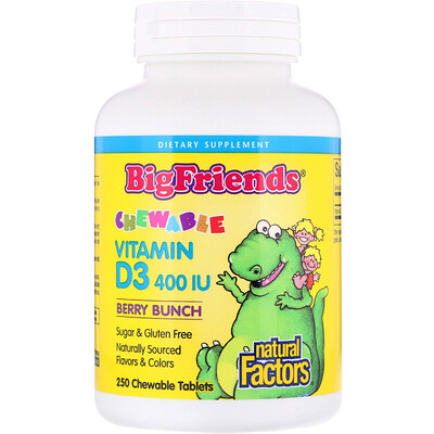 Natural Factors Большие друзья, жевательный витамин D3 с ягодным вкусом, 400 МЕ, 250 жевательных таблеток