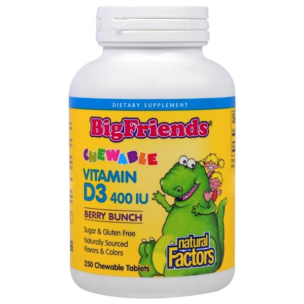 """Natural Factors, """"Большие друзья"""", жевательный витамин D3 с ягодным вкусом, 400 МЕ, 250 жевательных таблеток"""