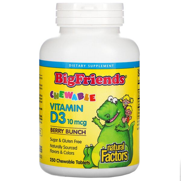 Big Friends, Vitamina D3 masticable, Racimo de bayas, 10 mcg, 250 comprimidos masticables