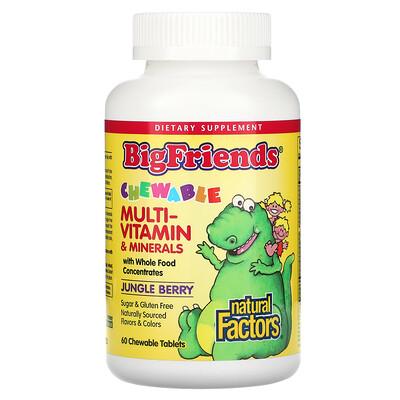Купить Natural Factors Большие друзья, жевательный мультивитаминный комплекс с минералами, со вкусом ягод из джунглей, 60 жевательных таблеток