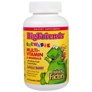 Natural Factors, Big Friends, Chewable Multi-Vitamin & Minerals, Jungle Berry, 60 Chewable Tablets