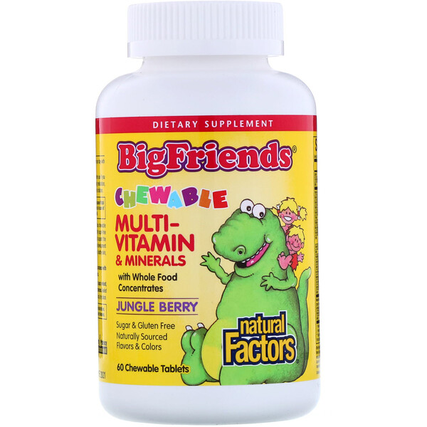Natural Factors, Big Friends, Chewable Multi-Vitamin & Minerals, Jungle Berry, 60 Chewable Tablets