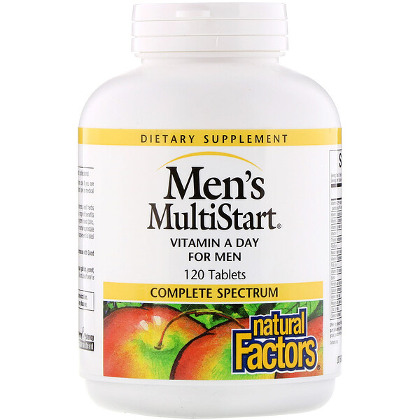 Natural Factors, Men's MultiStart, VitaMin A Day para Homens, 120 tabletes