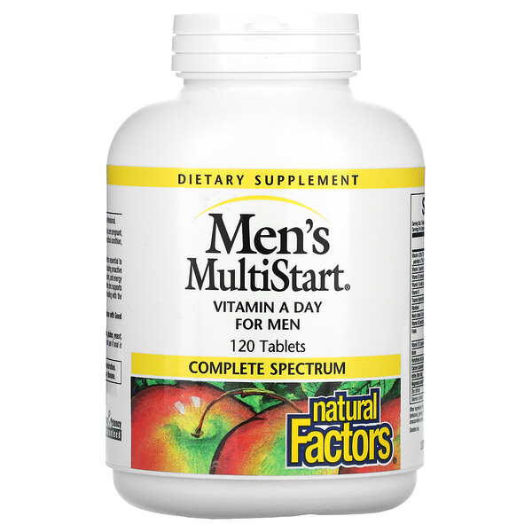 Natural Factors, Men's MultiStart, Vitamin A Day for Men, 120 Tablets
