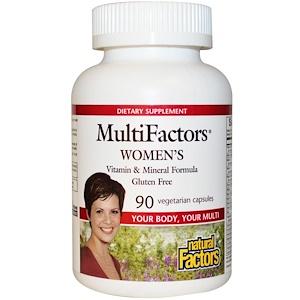 Натурал Факторс, MultiFactors, Women's Vitamin & Mineral Formula, Gluten Free, 90 Veggie Caps отзывы