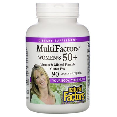 Купить Natural Factors MultiFactors, для женщин старше 50лет, 90вегетарианских капсул