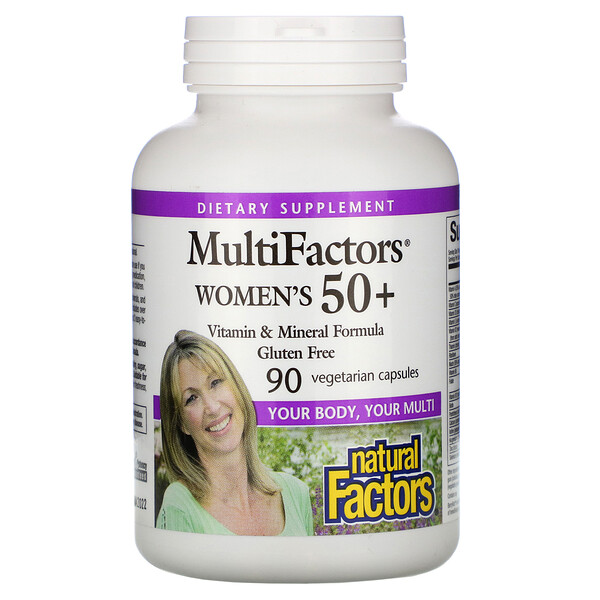 Natural Factors, MultiFactors,女性的 50+,90 粒素食膠囊