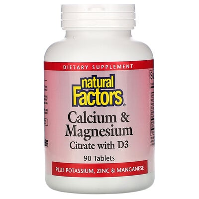 Natural Factors Calcium & Magnesium, Citrate with D3, 90 Tablets