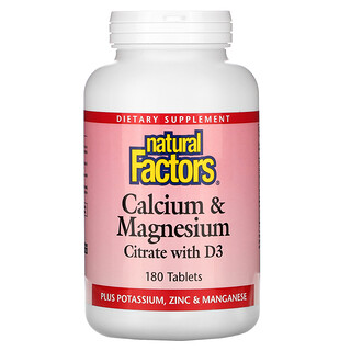 Natural Factors, Calcium & Magnesium Citrate with D3, 180 Tablets