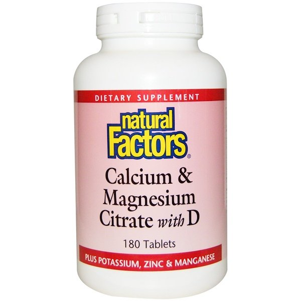 Calcium & Magnesium Citrate, With D, 180 Tablets
