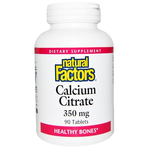 Natural Factors, Calcium Citrate, 350 mg, 90 Tablets