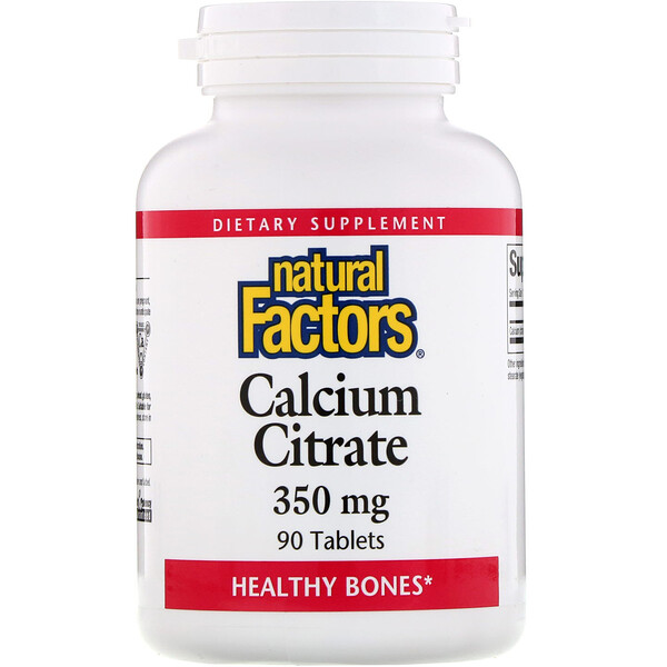 Natural Factors, Citrate de calcium, 350 mg, 90 comprimés