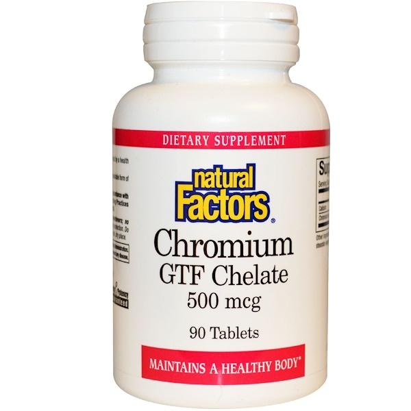 Natural Factors, Chromium GTF Chelate, 500 mcg, 90 Tablets