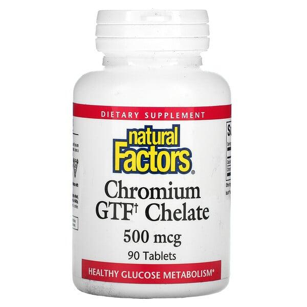 Natural Factors, クロミウム GTF キレート、500 mcg、90タブレット