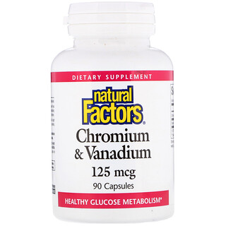 Natural Factors, Chromium & Vanadium, 125 mcg, 90 Capsules